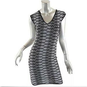M Missoni Black & White Crochet Knit Stretch Dress
